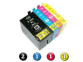 5 Pack Combo Compatible Epson 252XL (2BK/1C/1M/1Y) ink cartridges