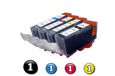 4 Pack Combo Compatible Canon ink cartridges (BCI3eBK + BCI6C/M/Y)