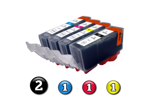 5 Pack Combo Compatible Canon ink cartridges (2 x BCI3eBK + 1 x BCI6C/M/Y)