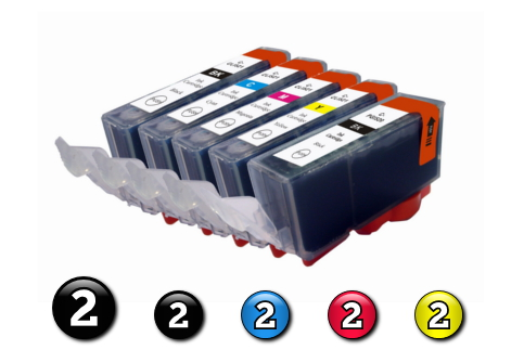 10 Pack Combo Compatible Canon ink cartridges (2 x BCI3eBK + 2 x BCI6BK/C/M/Y)